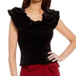 Antonio Melani Black Velvet Ruffle Blouse
